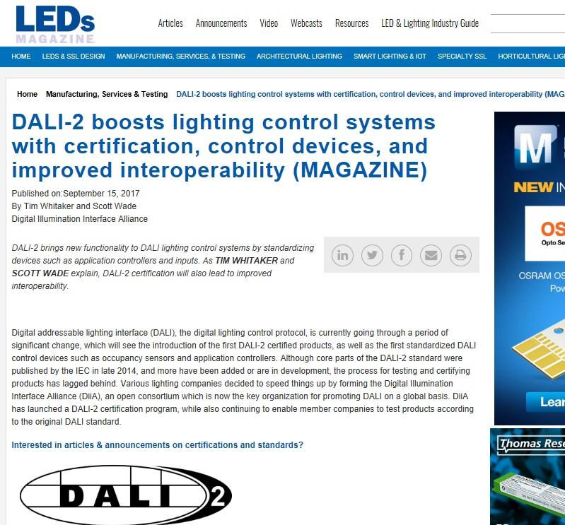 DiiA article published in LEDs Magazine - Digital Illumination ...